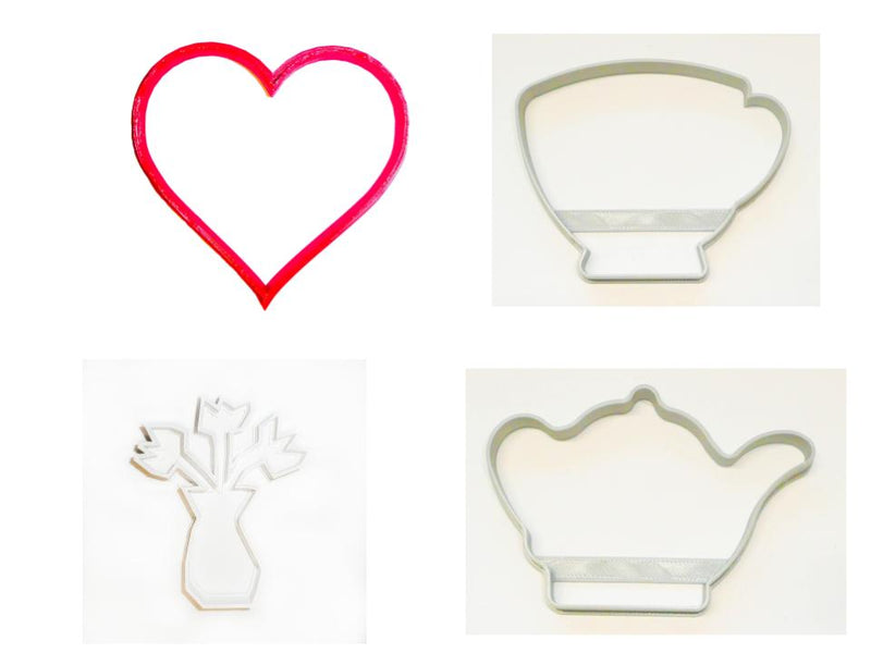 Mother's Day Flowers Tea Mom Set of 4 Cookie Cutters USA PR1519