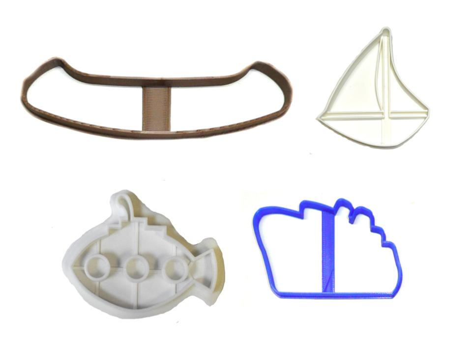 Water Vessels Boat Ship Sail Canoe Set of 4 Cookie Cutters USA PR1477