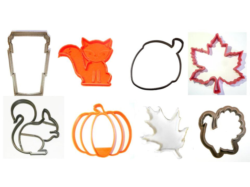 Autumn Fall Season Pumpkin Leaves Set of 8 Cookie Cutters USA PR1480