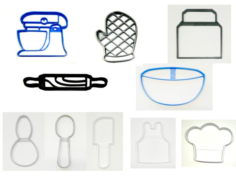 Chef Restaurant Baker Bakery Set of 10 Cookie Cutters USA PR1483