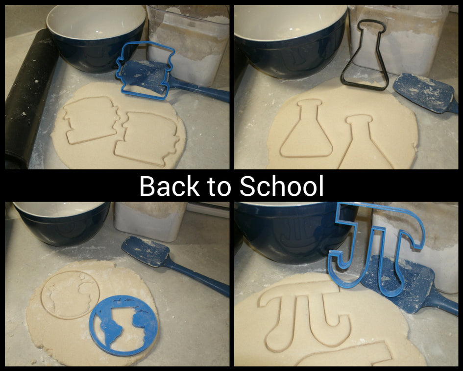 Back To School Books Globe Chemistry Pi Set of 4 Cookie Cutters USA PR1039