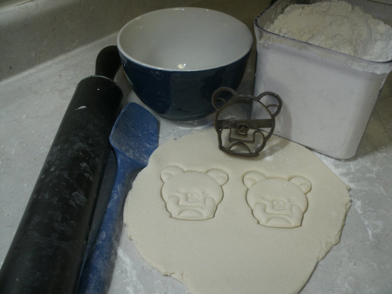 Bear Face Playing Peek-a-boo Special Occasion Cookie Cutter Baking Tool Made in USA PR777