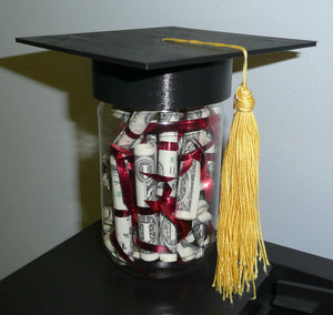 Mortarboard Graduation Cap for Mason Jar High School College Gift Decor 3D Printed Made in USA PR230