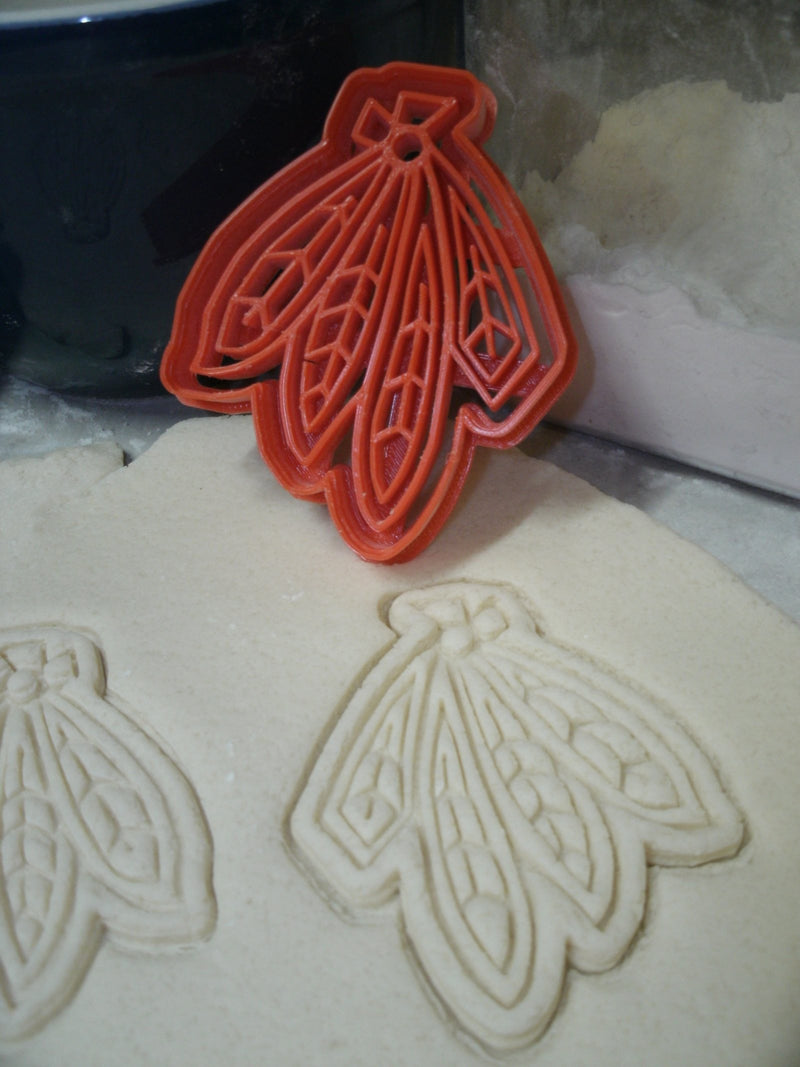 Blackhawks Feathers Logo Chicago Hockey Cookie Cutter Baking Tool Made In USA PR735