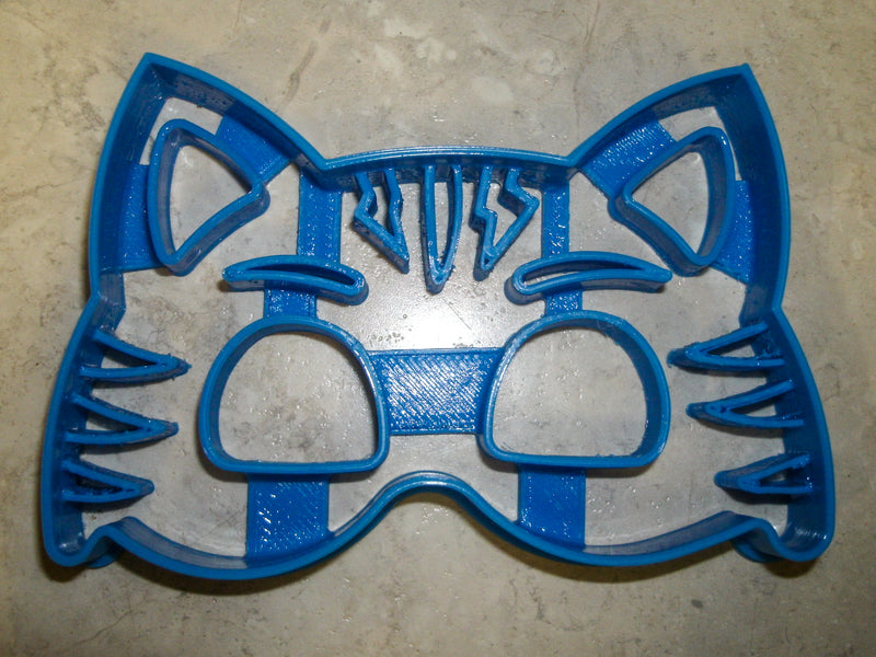 "Catboy Cat Boy Mask with Details PJ Masks Kids TV Show Character Special Occasion Fondant Stamp Cutter or Cupcake Topper Size 1.75"" Made in USA FD826"