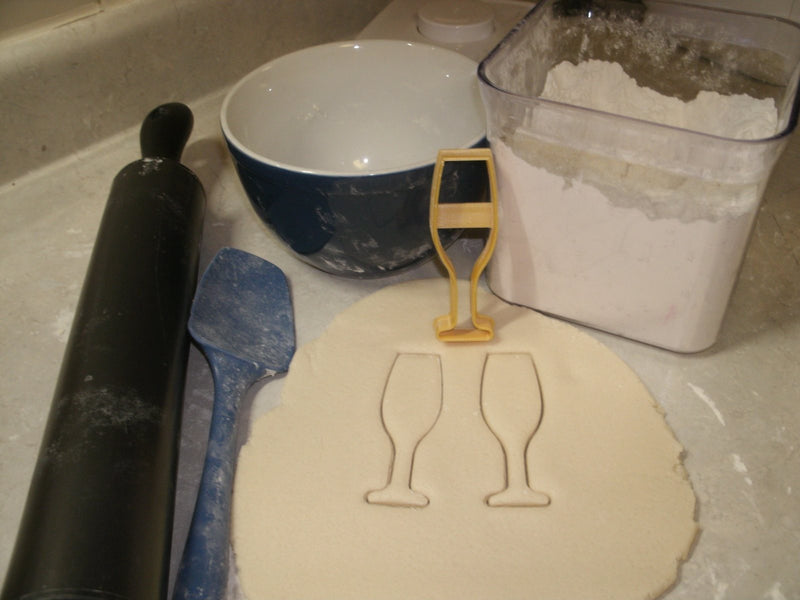 Champagne Sparkling Wine Cocktail Toasting Glass Special Occasion Cookie Cutter Baking Tool Made in USA PR560
