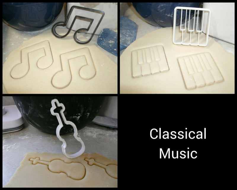 Classical Music Piano Keys Violin Eighth Note Set Of 3 Cookie Cutters USA PR1010