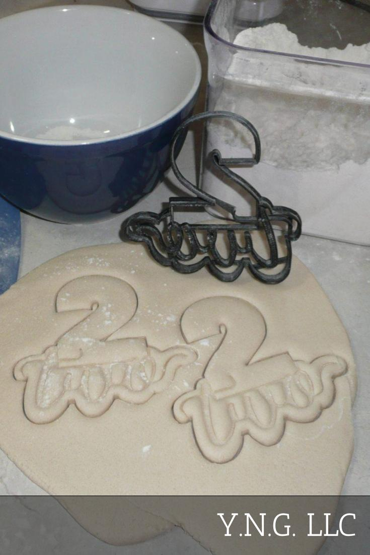 Number Two 2 With Word Lettered Birthday Anniversary Celebration Party Age Date Treat Cookie Cutter Baking Tool USA PR2403