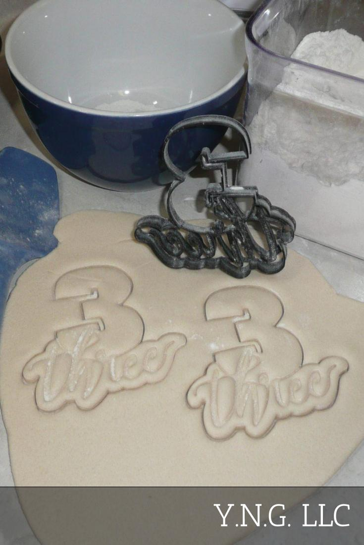 Number Three 3 With Word Lettered Birthday Anniversary Celebration Party Age Date Treat Cookie Cutter Baking Tool USA PR2404