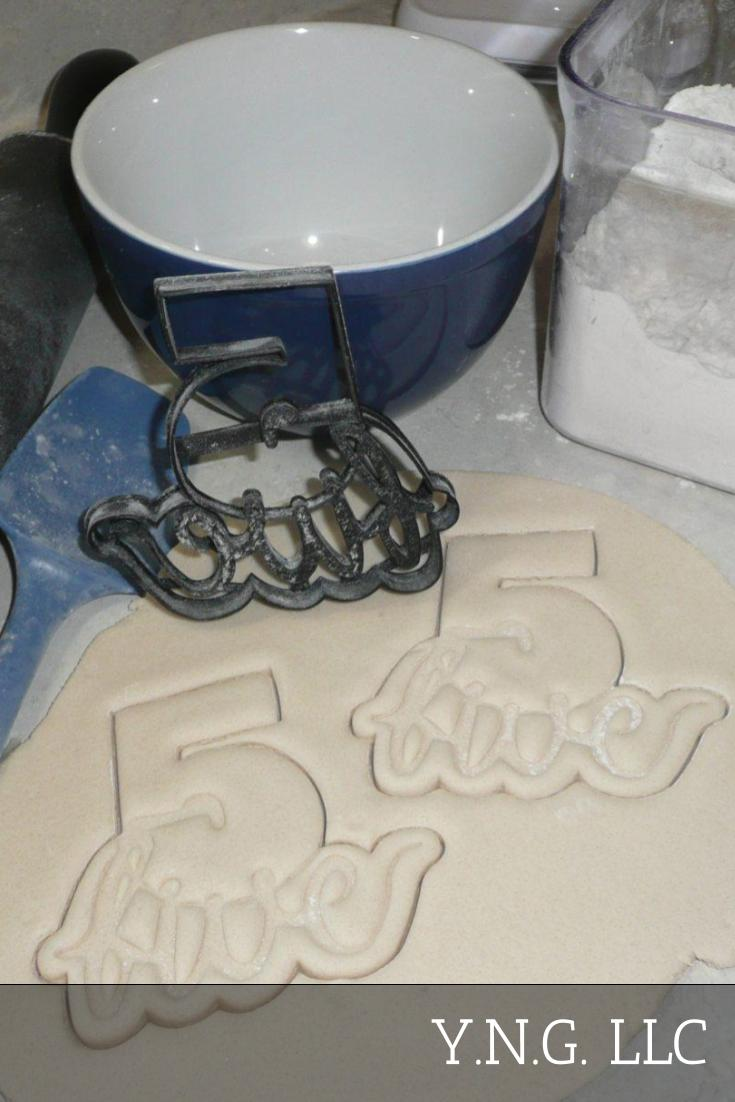 Number Five 5 With Word Lettered Birthday Anniversary Celebration Party Age Date Treat Cookie Cutter Baking Tool USA PR2406