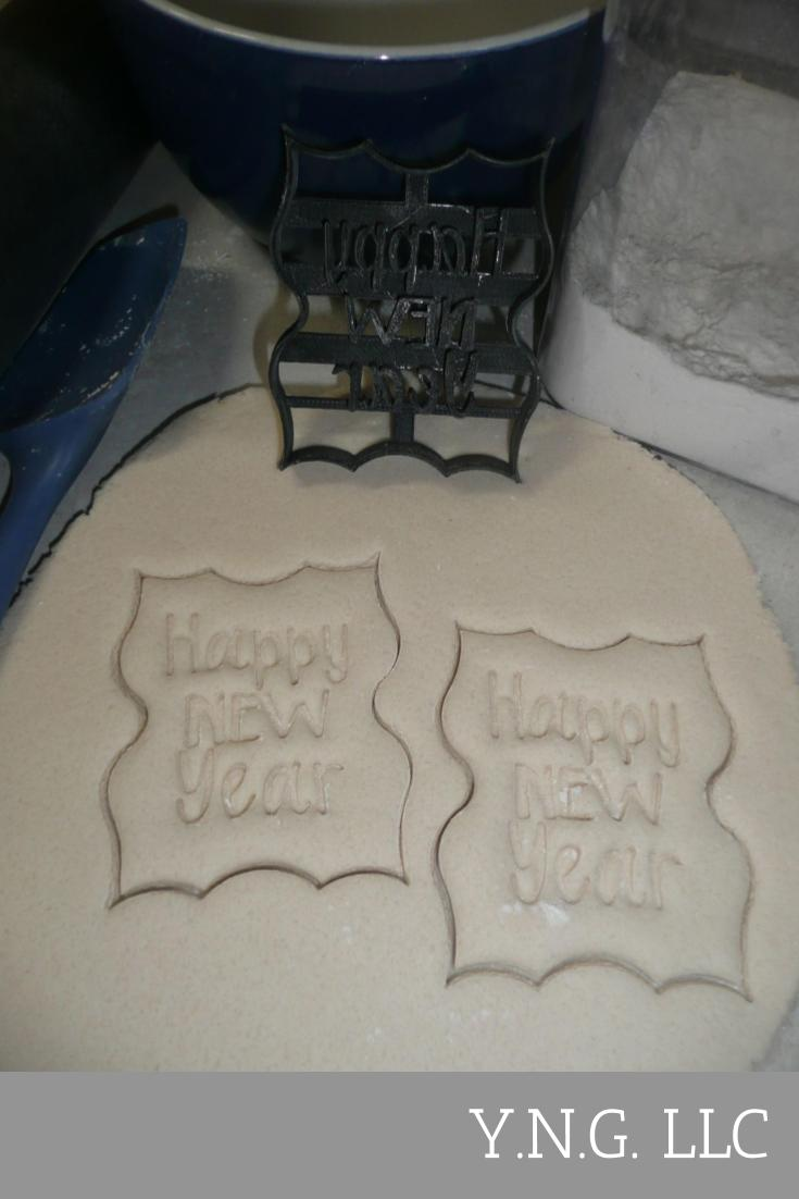 Happy New Year Text Words In Fancy Frame NYE Party Cookie Cutter USA PR3277