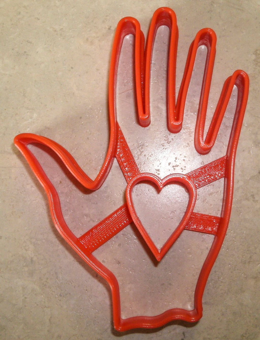 "Hand with Heart Charity Symbol John Calvin Special Occasion Fondant Stamp Cutter or Cupcake Topper Size 1.75"" Made in USA FD606"