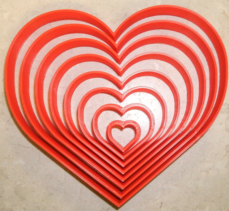 Ascending Hearts Love Geometry Shape Set Of 8 Special Occasion Cookie Cutters Baking Tool 3D Printed Made In USA PR901