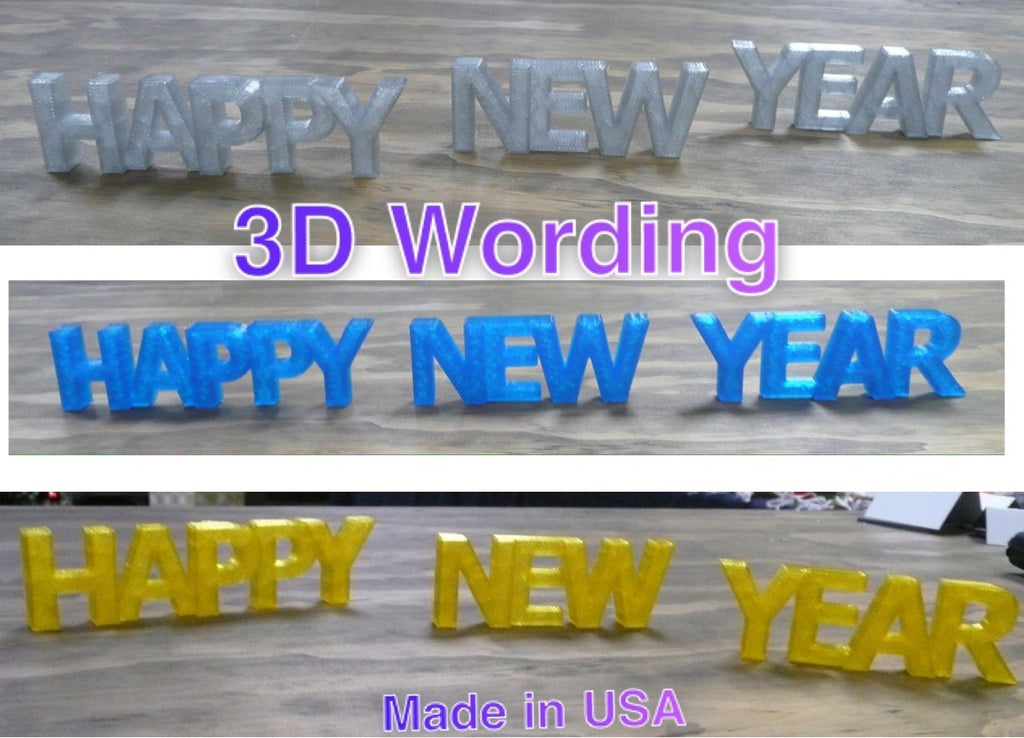 Happy New Year Quote Banner Holiday Display Sign 3D Printed USA PR191-NY