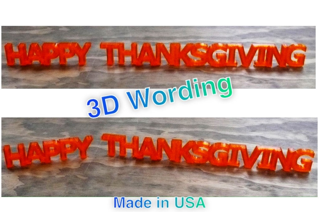 Happy Thanksgiving Quote Banner Holiday Display Sign 3D Printed Made in USA PR191-HT