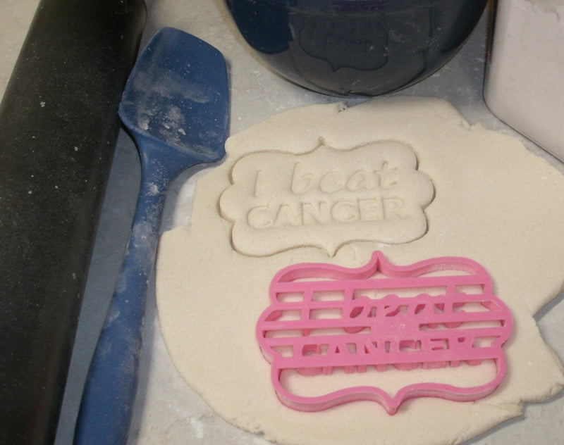 """I Beat Cancer"" Quote Plaque Remission Celebration Special Occasion Cookie Cutter Baking Tool Made in USA PR727"