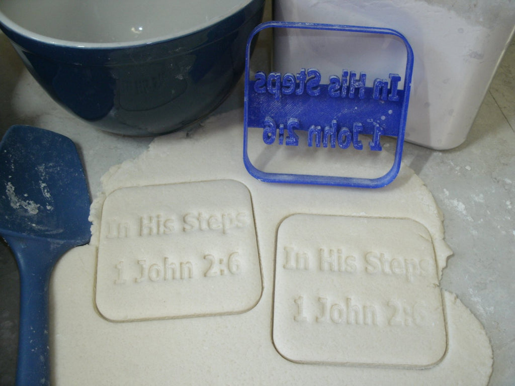 In His Steps 1 John 2:6 Bible Verse Special Occasion Cookie Cutter Baking Tool Made in USA PR683