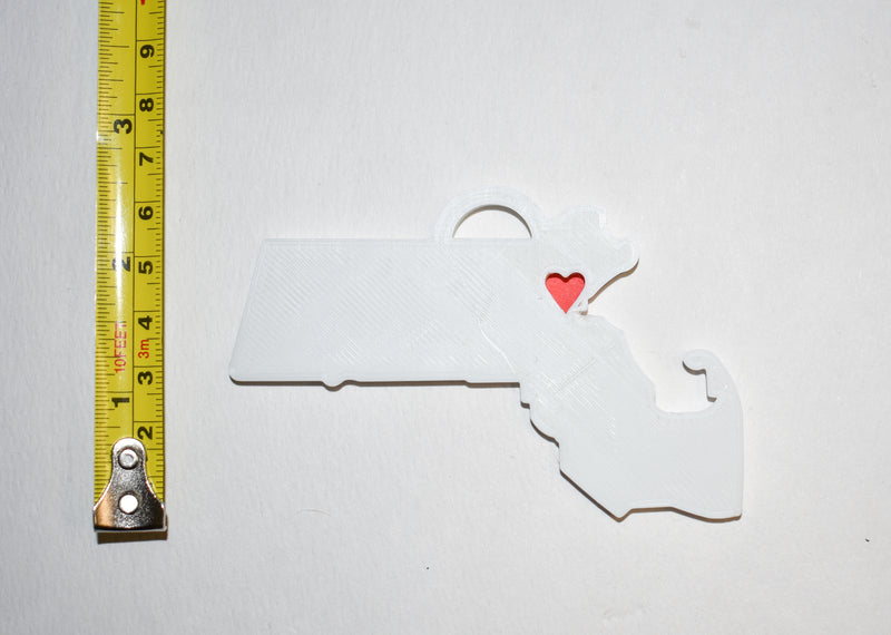 Massachusetts State Outline Boston Red Heart Cutout Hanging Ornament Holiday Christmas Decor Made In USA PR244-MA