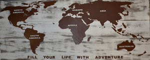 World Travel Map Fill Your Life With Adventure Mountable Wall Hanging Home Decor Custom Colors Made In USA PR2330