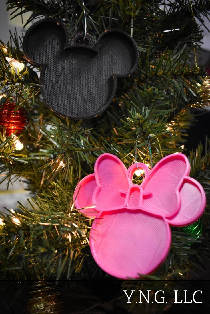 Mickey And Minnie Mouse Heads Ears Set Of 2 Ornaments Christmas Decor USA PR1120