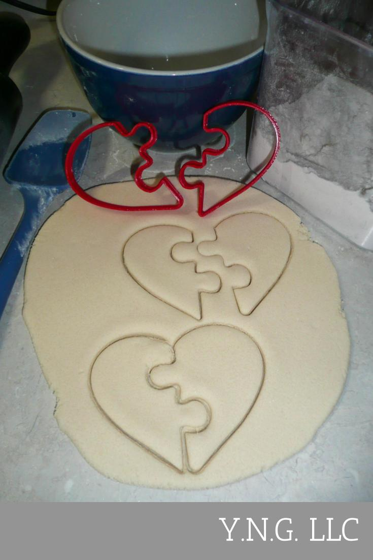 Heart Puzzle Pieces Love Valentines Wedding Set Of 2 Cookie Cutters USA PR3325
