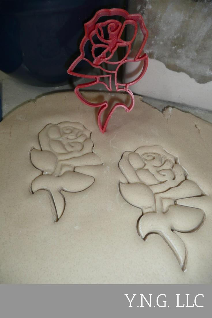 Rose With Stem Pretty Flower Plant Thorn Valentines Day Gift Sweetheart Couple Special Occasion Cookie Cutter USA PR2907