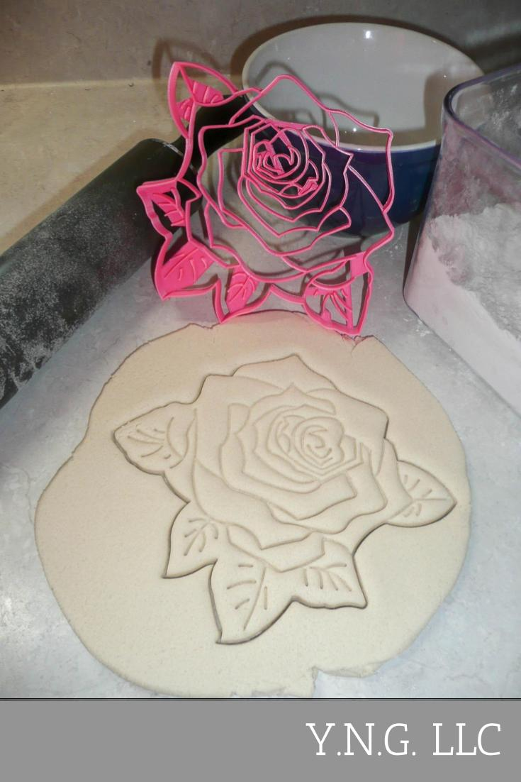Rose Flower 7.5 Inch Pie Top Topper Design Or Large Cookie Cutter USA PR3314