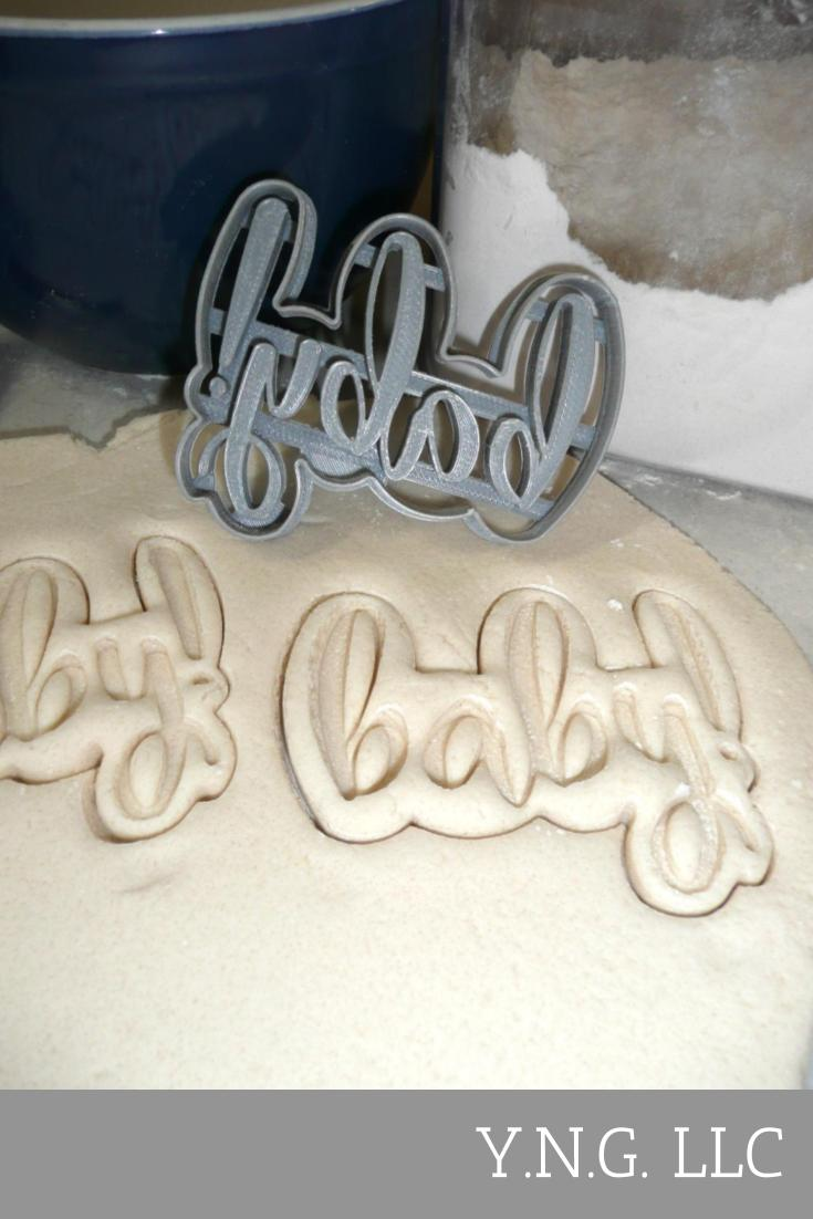 Baby Word Quote Gender Reveal Party Pregnancy Announcement Baby Shower Infant Newborn Young Child Special Occasion Cookie Cutter Baking Tool Made In USA PR2523