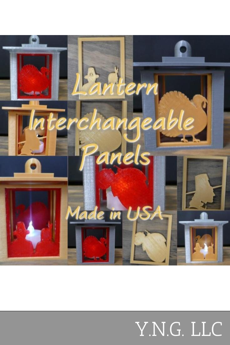 Set Of 4 Thanksgiving Swappable Interchangable Panels For Lantern Home Decor 3D Printed PR137-4