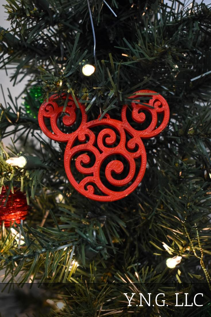Mickey Mouse Head Ears Swirl Design Cartoon Ornament Christmas Decor USA PR2235
