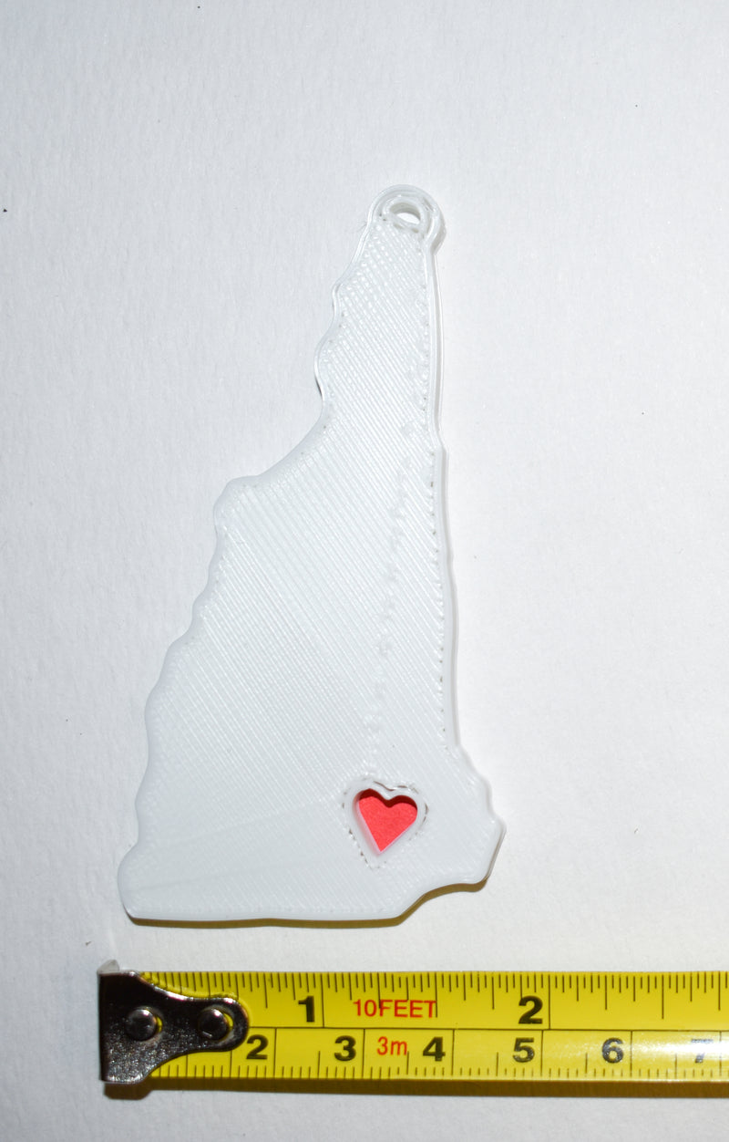 New Hampshire State Outline Concord Red Heart Cutout Hanging Ornament Holiday Christmas Decor Made In USA PR244-NH