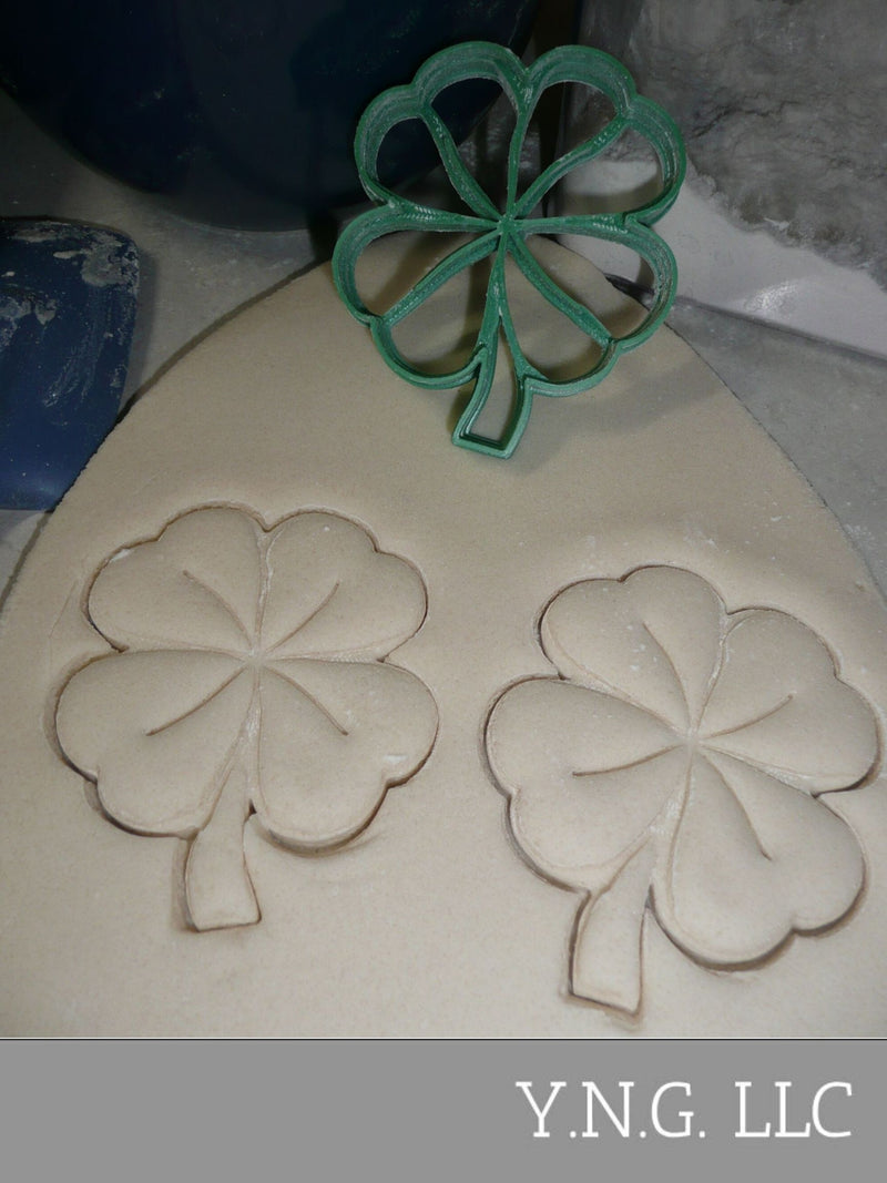 Cloverleaf Detail Lucky 4 Leaf Shamrock Good Luck Cookie Cutter PR2288