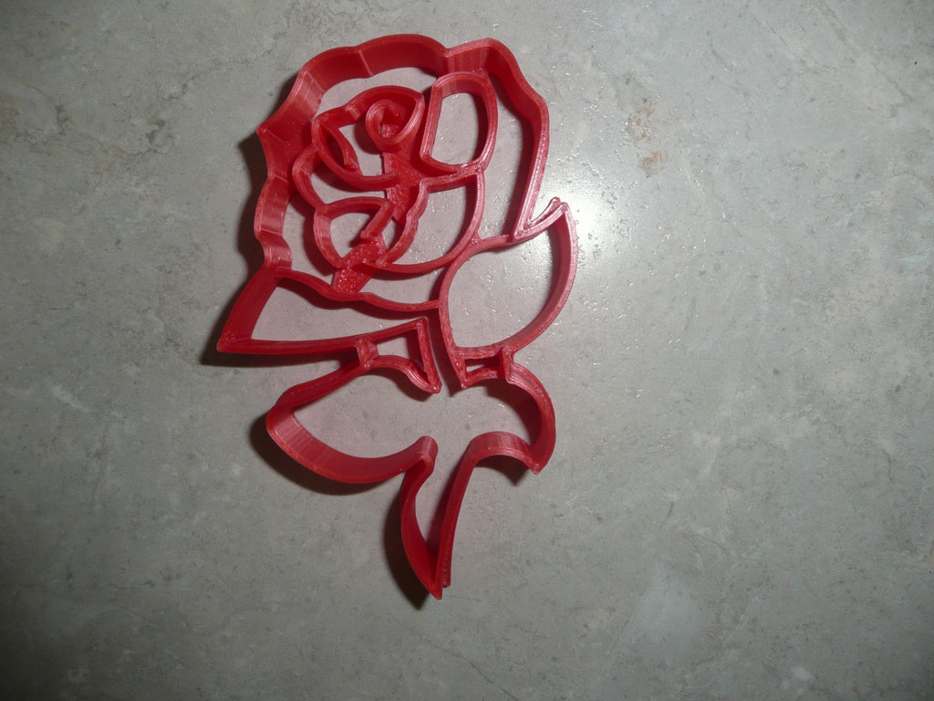 Rose With Stem Flower Plant Valentines Day Sweetheart Cookie Cutter USA PR2907