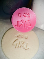 Its A Girl Text Words Baby Shower Gender Reveal Cookie Stamp Embosser USA PR2824