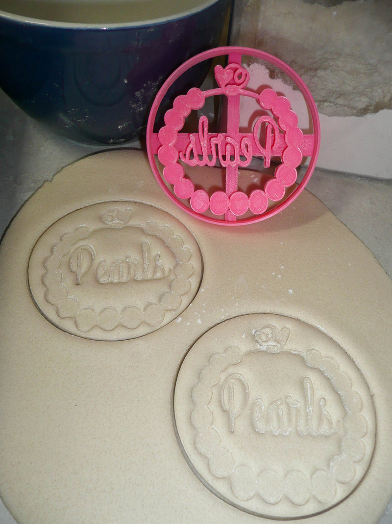 Pearls Fashion Girl Baby Shower Gender Reveal Cookie Cutter USA PR3027