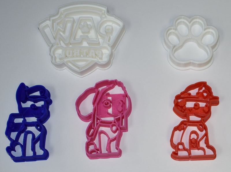 "Paw Patrol Dogs Set of 5 Special Occasion Fondant Stamp Cutter or Cupcake Topper Size 1.75"" Made in USA FD1049"