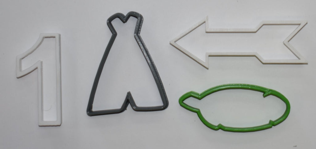 "Wild One First Birthday Party Celebration Arrow Leaf Feather Teepee #1 Set Of 4 Special Occasion Fondant Stamp Cutter or Cupcake Topper Size 1.75"" Made in USA FD1066"
