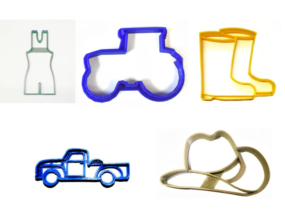 Farmer John Hat Boots Overalls Farm Truck Set Of 5 Cookie Cutters USA PR1536