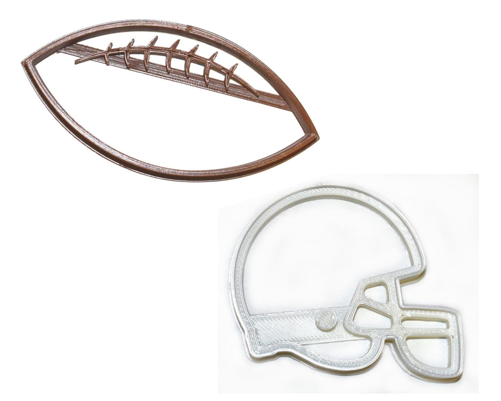 Football And Helmet Team Sport Athletics Set Of 2 Cookie Cutters USA PR1540