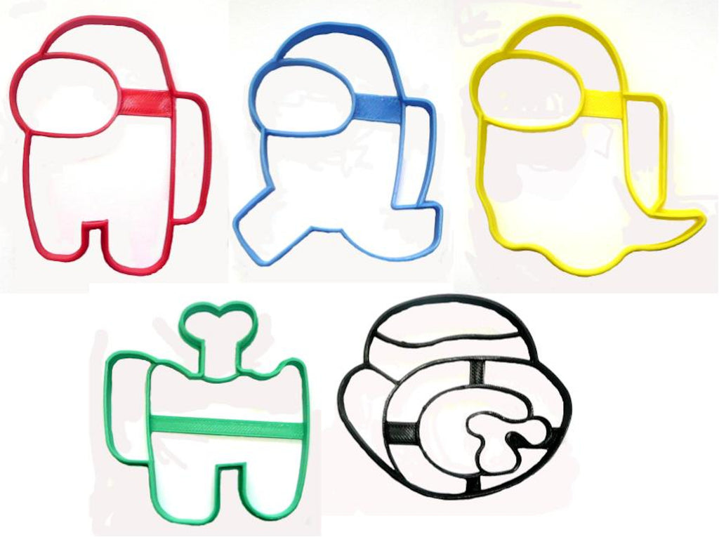 Among Us Crewmate and Imposter Video Game Set Of 5 Cookie Cutters USA PR1544