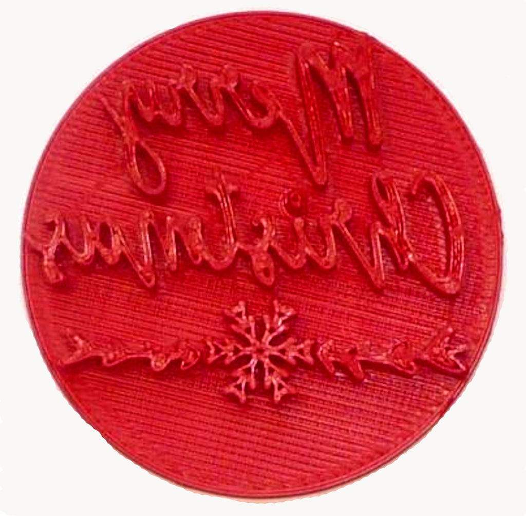 Merry Christmas Words Snowflake Script Font Cookie Stamp Embosser USA PR3997