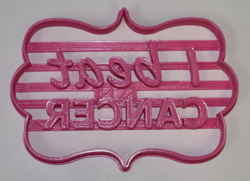 """I Beat Cancer"" Quote Plaque Remission Celebration Special Occasion Fondant Stamp Cutter or Cupcake Topper Size 1.75"" Made in USA FD727"