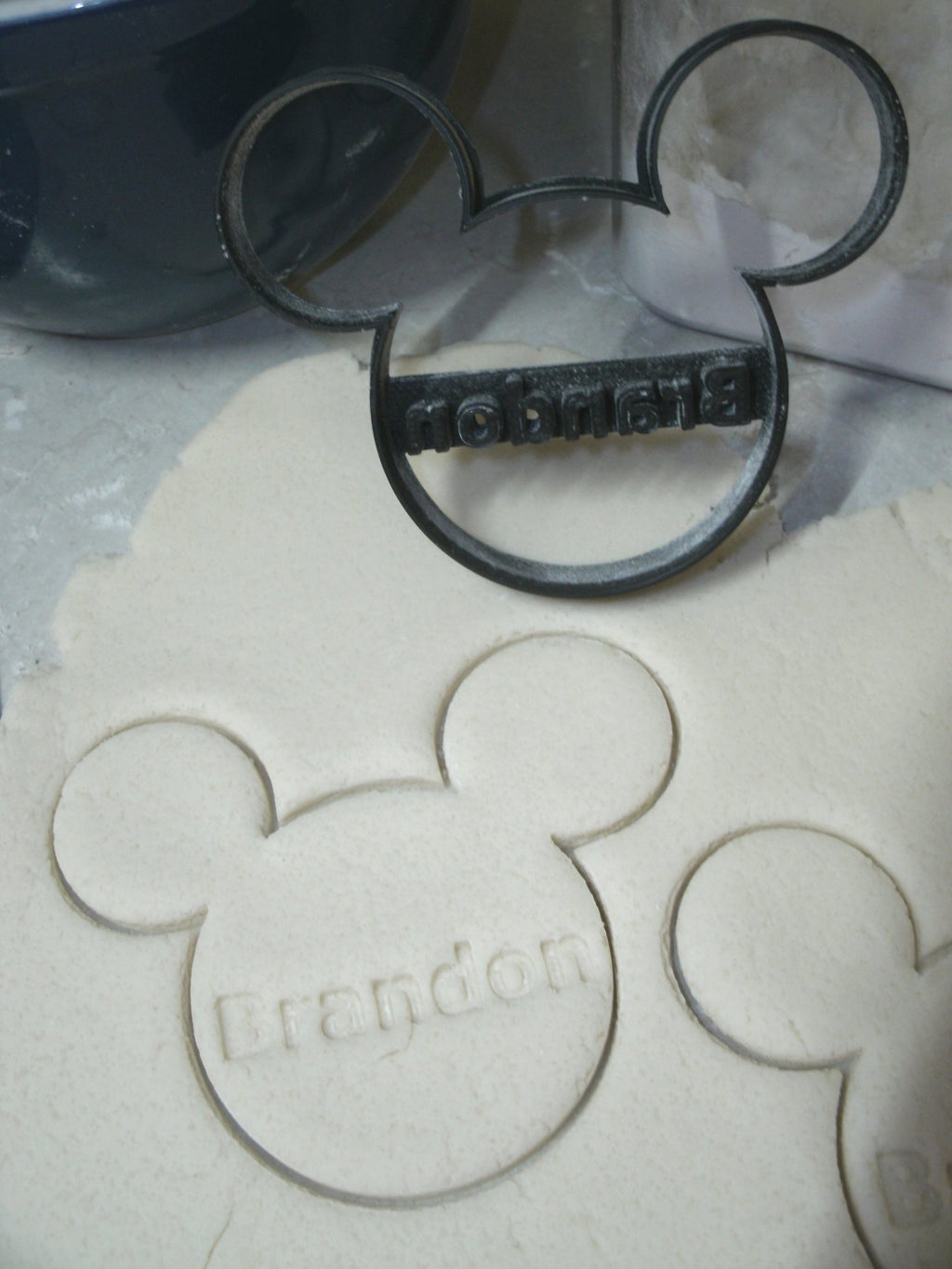 Custom Name Personalized Mickey Mouse Head Disney Baby Shower Birthday Special Occasion Cookie Cutter Baking Tool Made In USA PR773