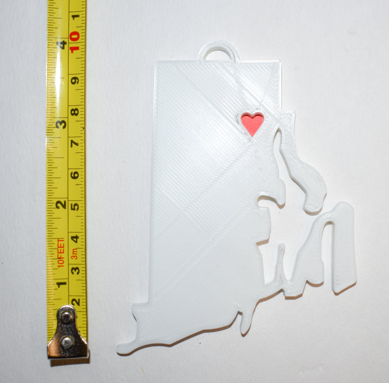 Rhode Island State Outline Providence Red Heart Cutout Hanging Ornament Holiday Christmas Decor Made In USA PR244-RI