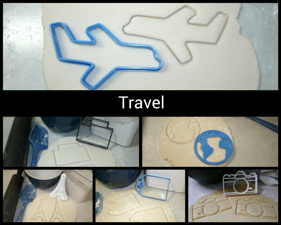 World Travel Set Of 6 Globe Plane Paris Camera Suitcase Tag Special Occasion Cookie Cutter Baking Tool 3d Printed USA PR1032