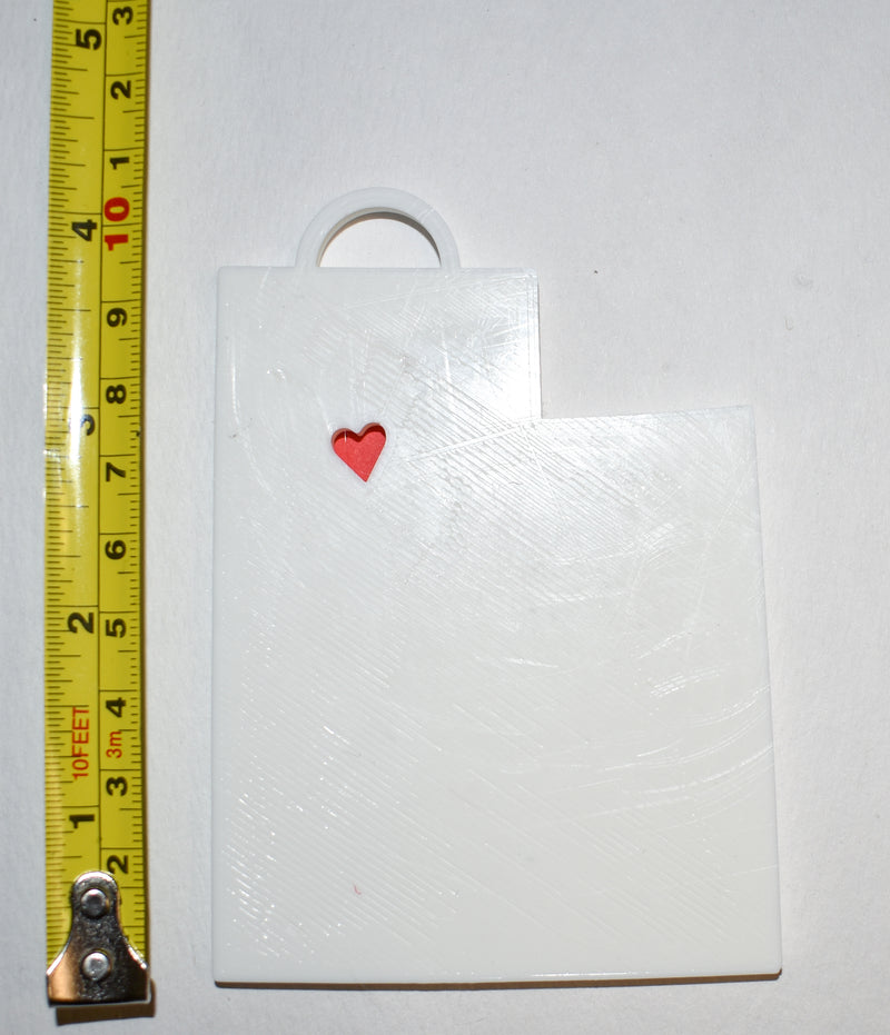 Utah State Outline Salt Lake City Red Heart Cutout Hanging Ornament Holiday Christmas Decor Made In USA PR244-UT