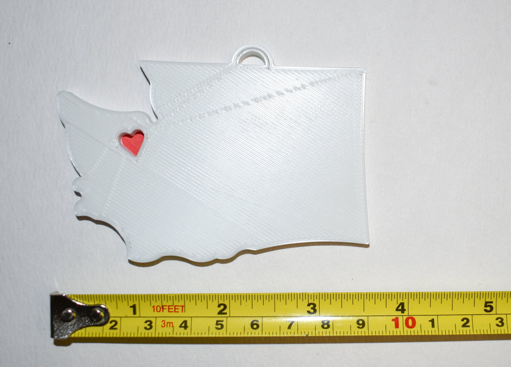 Washington State Outline Olympia Red Heart Cutout Hanging Ornament Holiday Christmas Decor Made In USA PR244-WA