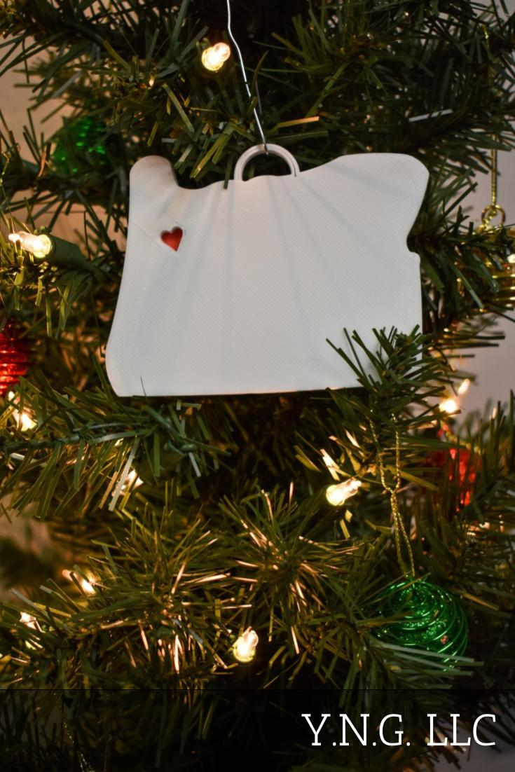 Oregon State Outline Salem Red Heart Cutout Hanging Ornament Holiday Christmas Decor Made In USA PR244-OR