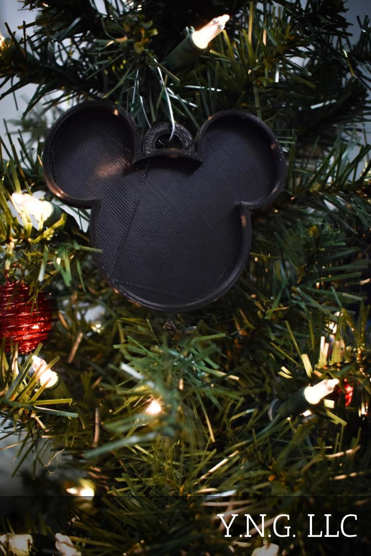 Mickey Mouse Head Ears Disney Cartoon Character Hanging Ornament Holiday Christmas Decor Made In USA PR2232