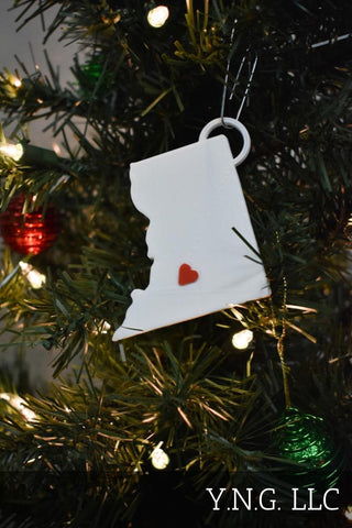 South Dakota State Outline Pierre Red Heart Cutout Hanging Ornament Holiday Christmas Decor Made In USA PR244-SD